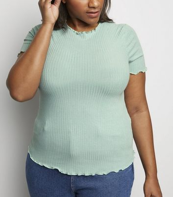 Curves Mint Green Ribbed Frill Trim T-Shirt