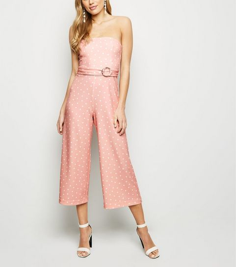 98596ced818 ... Pink Spot Strapless Culotte Jumpsuit ...