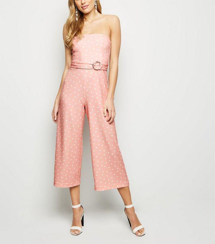 c995b9404336 Pink Spot Strapless Culotte Jumpsuit