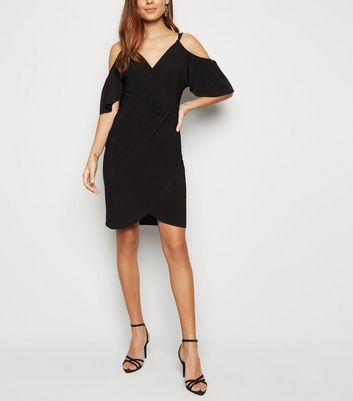 Black Slinky Cold Shoulder Wrap Front Dress