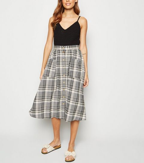 f3b24d9a0d6f ... Black Check Button Front Midi Skirt ...