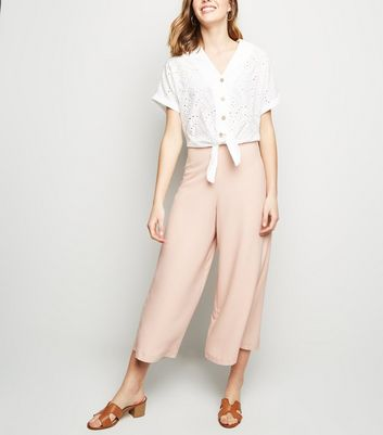 Pale Pink Wide Leg Crop Trousers