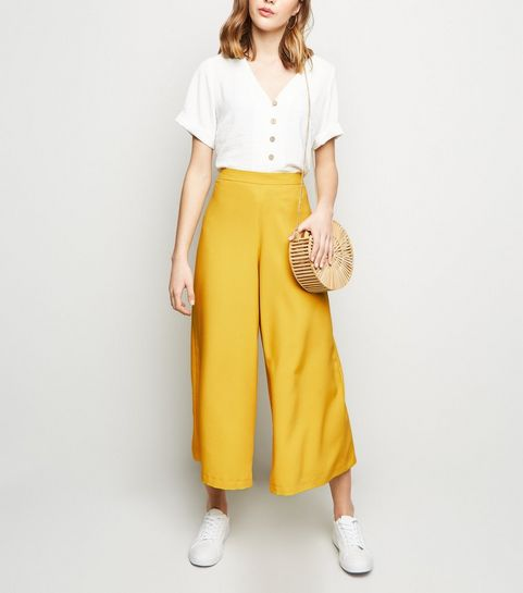 2b9d51a2a74 ... Mustard Wide Leg Crop Trousers ...