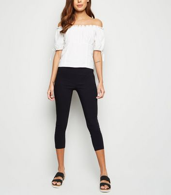 Black Slim Stretch Capri Trousers