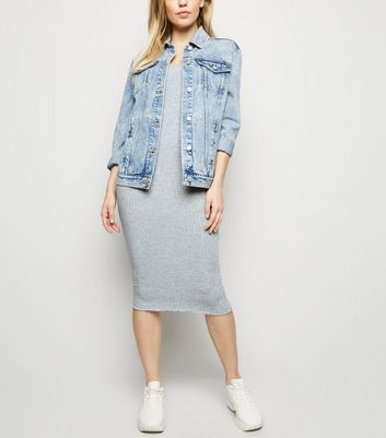 Grey Ribbed Scoop Neck Jersey Midi Dress