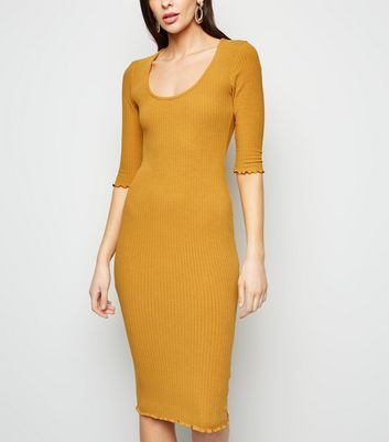 Mustard Ribbed Scoop Neck Jersey Midi Dress