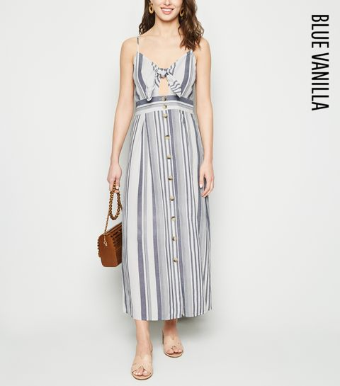 9d7a0b1417bfa ... Blue Vanilla Blue Stripe Linen Look Midaxi Dress ...