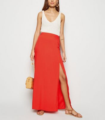 Red Side Split Maxi Skirt