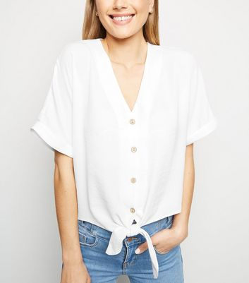 Tall White Roll Sleeve Button Up Blouse