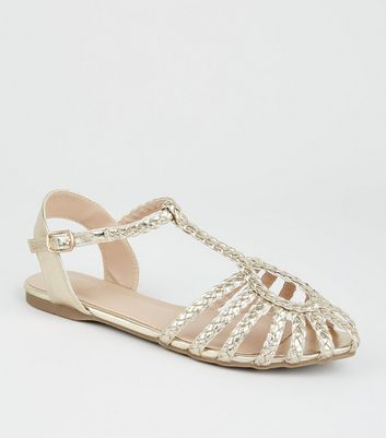 Girls Gold Plaited Strap Caged Sandals
