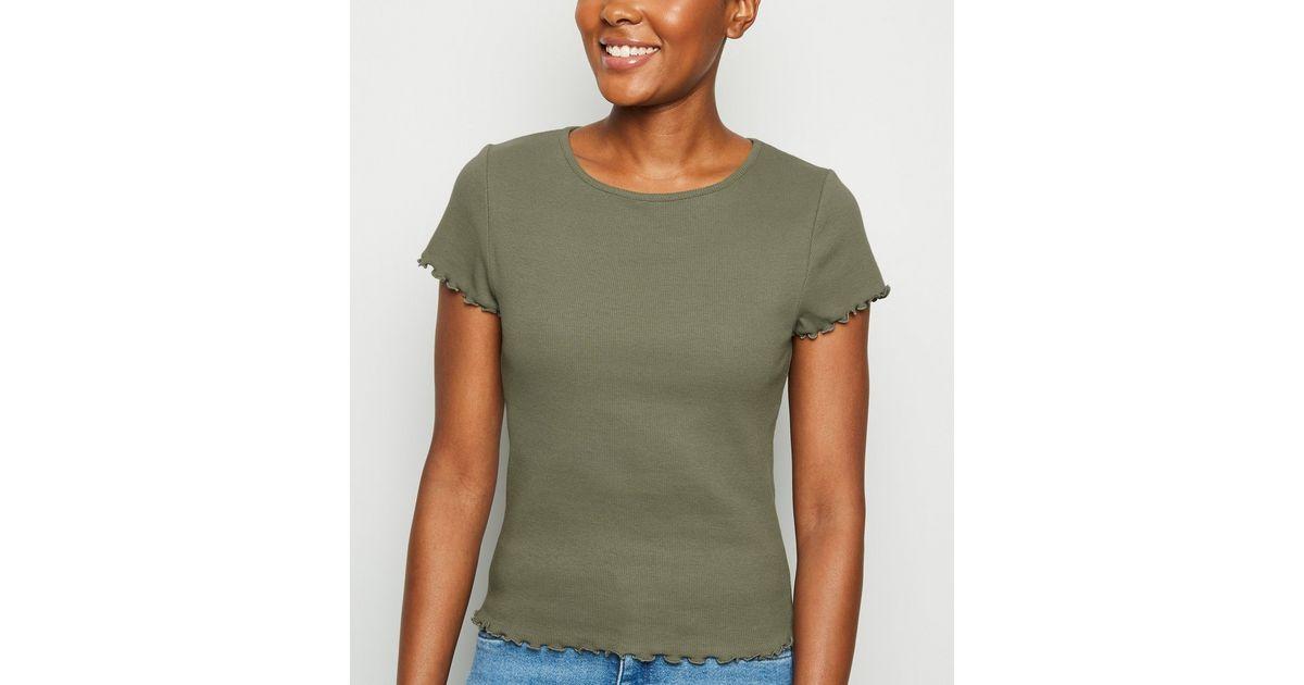 Khaki Ribbed Frill Trim Crop T-Shirt   New Look