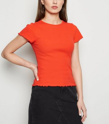 Red Ribbed Frill Trim Crop T-Shirt