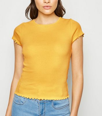 Yellow Ribbed Frill Trim Crop T-Shirt