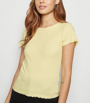 Pale Yellow Ribbed Frill Trim Crop T-Shirt