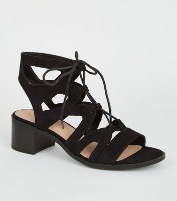 Girls Black Lace Up Block Heel Sandals