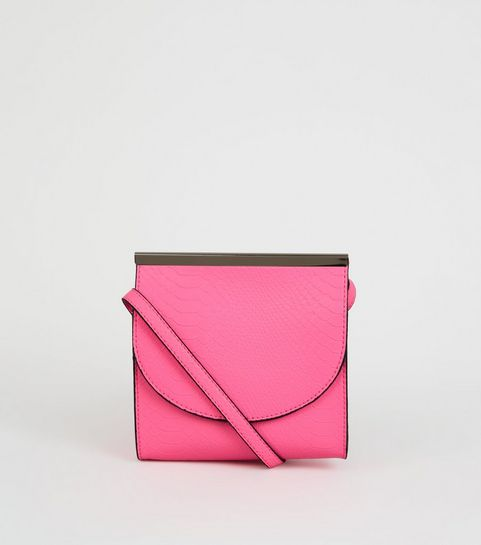 d1aae9f0ad23f ... Bright Pink Faux Snake Neon Cross Body Bag ...