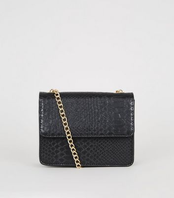 Black Faux Croc Mini Shoulder Bag
