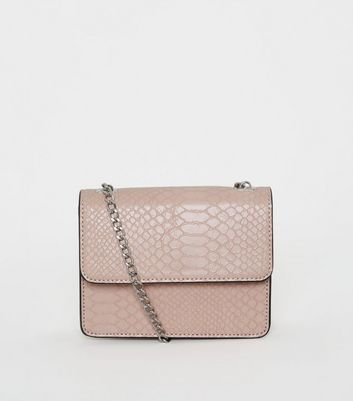 Nude Faux Croc Mini Shoulder Bag