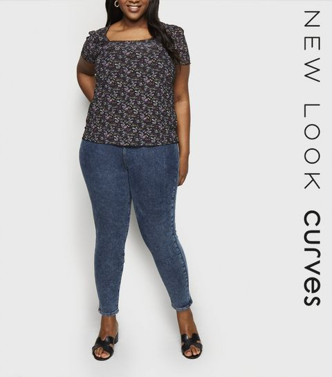 c0d24aab077 ... Curves Blue Acid Wash Ripped Mom Jeans ...