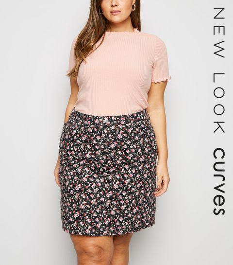5b7d8c33f1784 ... Curves Black Floral Mom Denim Skirt ...