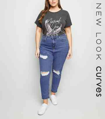 Curves Blue Ripped Slim Mom Jeans