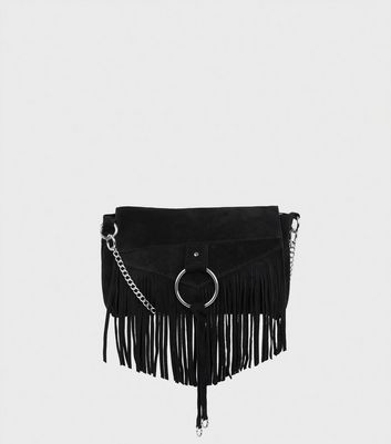 Black Suede Fringed Cross Body Bag
