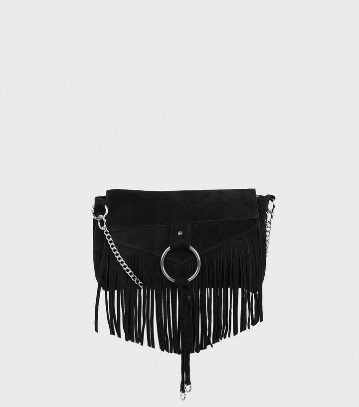 55fdb3722a4b Black Suede Fringed Cross Body Bag | New Look