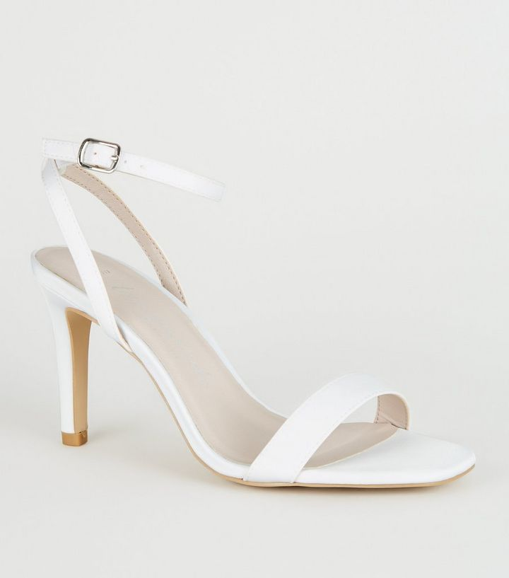 3c47a8c1eba18 Wide Fit Off White Satin 2 Part Heels | New Look