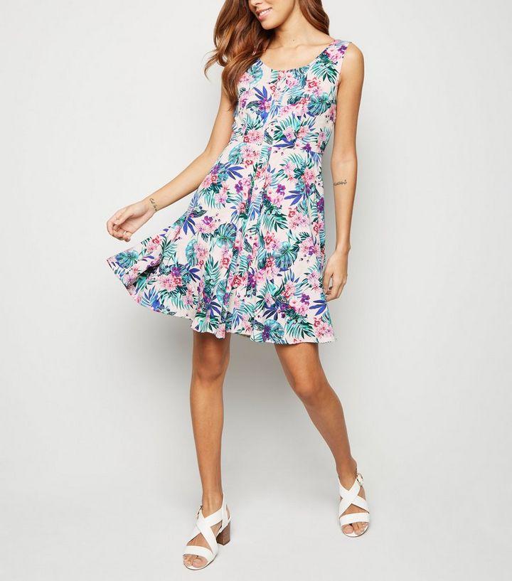 58b6495634 Mela White Tropical Floral Button Front Dress