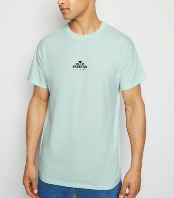 Mint Green Palm Spring Slogan T-Shirt