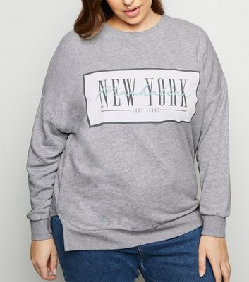 Curves - Sweat gris à slogan « New York »