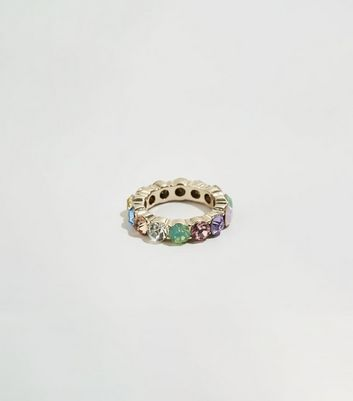 Multicoloured Pastel Gem Ring by New Look