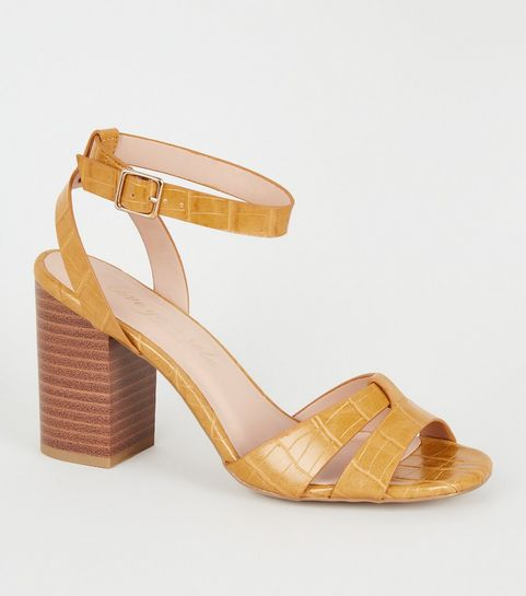 8be5a33ef2d1 ... Yellow Faux Croc 2 Part Block Heel ...
