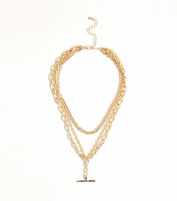 Gold Layered T-Bar Chain Necklace