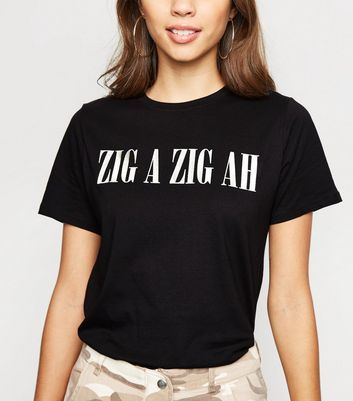 Black Zig A Zig Ah Metallic Slogan T-Shirt