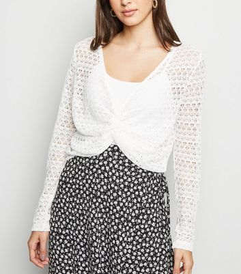 White Pointelle Fine Knit Twist Front Top