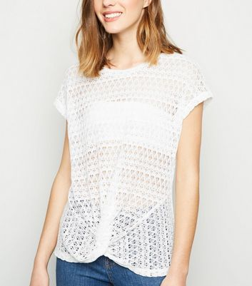 White Twist Front Pointelle Top