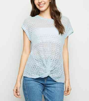 Pale Blue Twist Front Pointelle Knit Top