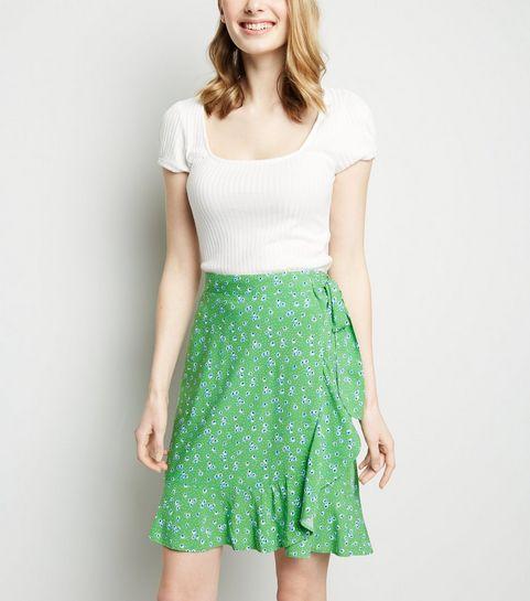 779253a326 ... Green Ditsy Floral Ruffle Trim Mini Skirt ...