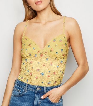 Yellow Floral Lace Bodysuit