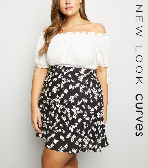 72f85a3662f ... Curves Black Floral Button Front Mini Skirt ...