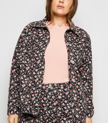 Curves Black Floral Cropped Denim Jacket