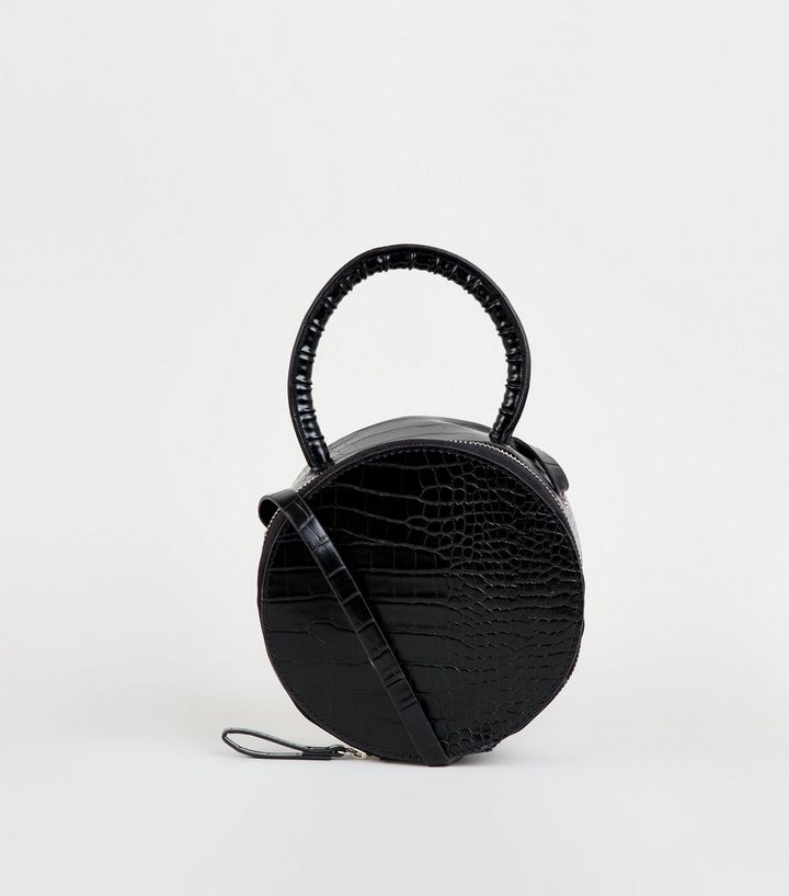 Black Faux Croc Round Top Handle Bag