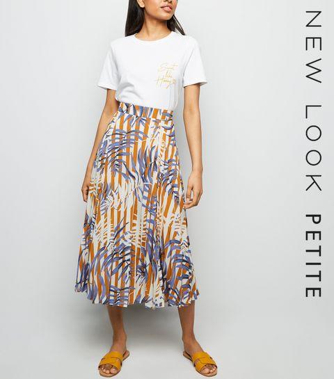 20f21a123ee ... Petite Brown Floral Stripe Pleated Midi Skirt ...