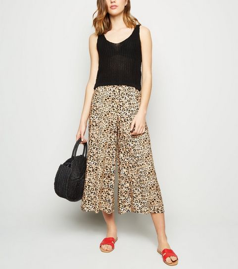 f0cfeff26d4 ... Brown Animal Print Cropped Trousers ...