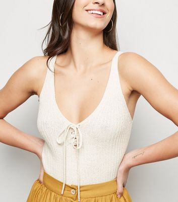 Cream Ribbed Knit Lace Up Vest