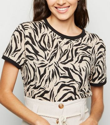Brown Zebra Print Ringer T-Shirt