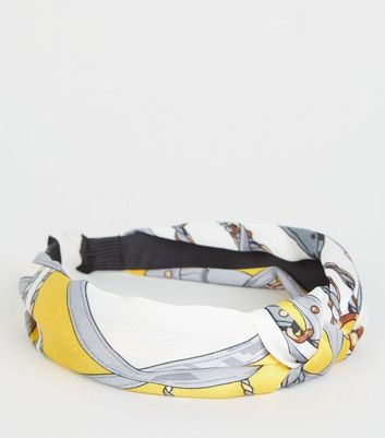 Yellow Chain Print Knot Headband