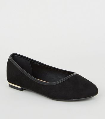 Wide Fit Black Suedette Ballet Pumps