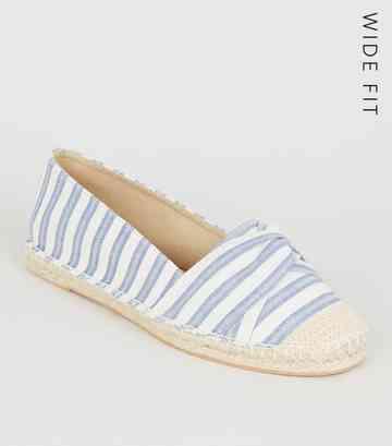 f726018897 Wide Fit Blue Stripe Twist Espadrilles ...
